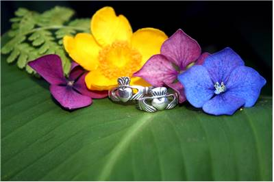 Claddagh Rings And Flowers